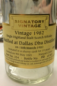 Signatory Vintage Dallas Dhu 1982 Single Cask. Photo ©2015 by Mark Gillespie.