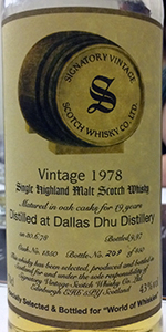 Signatory Vintage Dallas Dhu 1978 Single Cask. Photo ©2015 by Mark Gillespie.