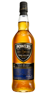 Powers Three Swallow Single Pot Still Irish Whiskey. Image courtesy Irish Distillers.
