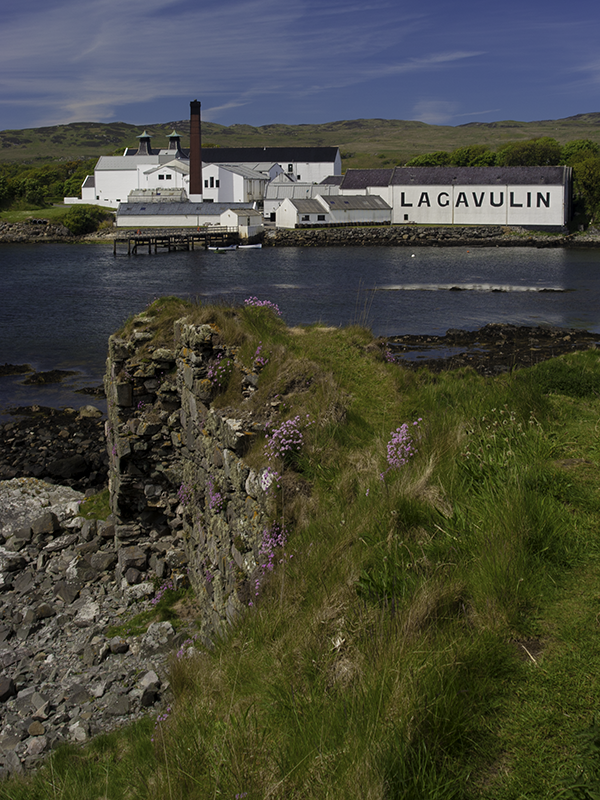 Lagavulin Distillery as seen from the ruins of Dunyvaig Castle. Photo ©2010 by Mark Gillespie.