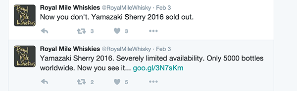Royal Mile Whiskies Twitter posts on the Suntory Yamazaki Sherry Cask 2016 Edition. Image courtesy Twitter.