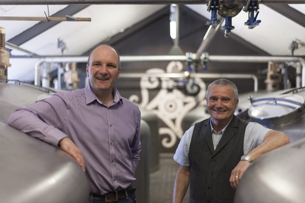 Jura's new distillery manager, Graham Logan, with the retiring Willie Cochrane. Image courtesy Whyte & Mackay.