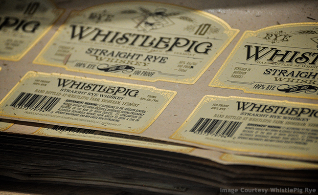 WhistlePig Rye labels on the company's bottling line. Image courtesy WhistlePig Rye.