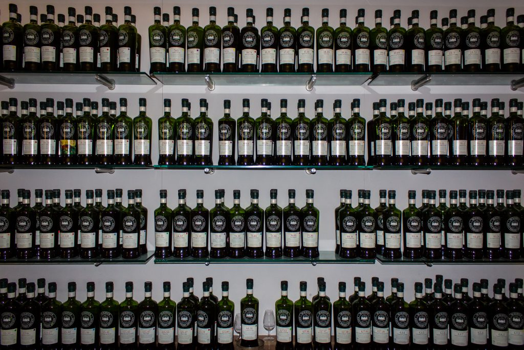 Scotch Malt Whisky Society bottlings on display at the SMWS Queen Street venue in Edinburgh, Scotland. Photo ©2013, Mark Gillespie/CaskStrength Media.