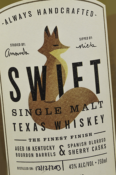 The label for Swift Single Malt Texas Whiskey. Photo ©2016, Mark Gillespie/CaskStrength Media.