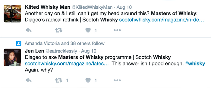Twitter reaction to the end of the Masters of Whisky program. Image courtesy Twitter.