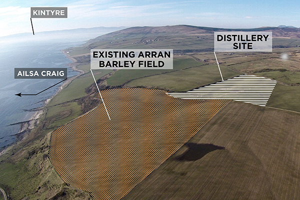 An aerial photo of the site for Isle of Arran's new distillery at Lagg along the island's southern coast. Photo courtesy Isle of Arran.