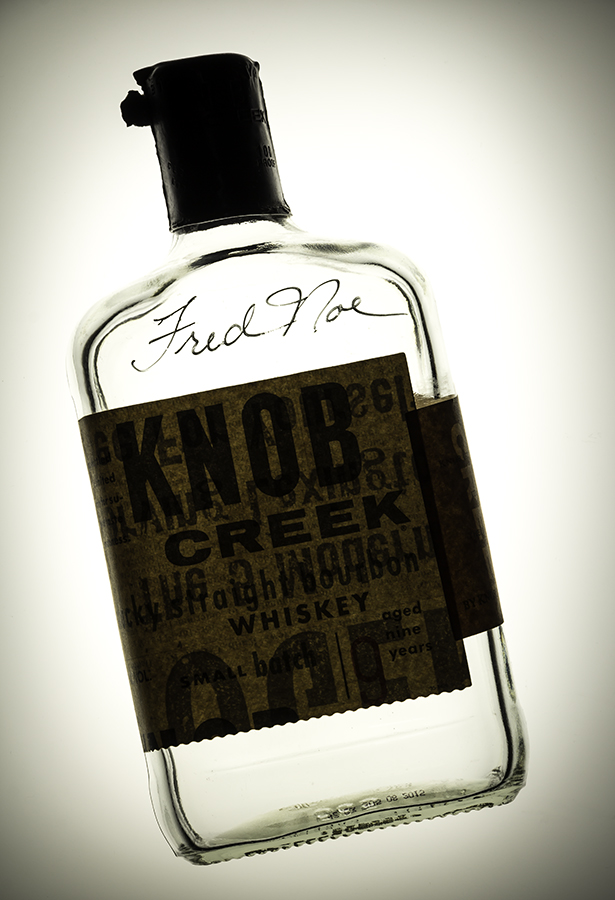 A Knob Creek display bottle signed by Beam master distiller Fred Noe. Photo ©2016, Mark Gillespie, CaskStrength Media.