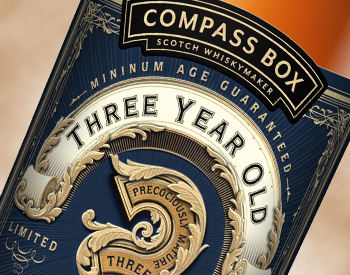 The label for Compass Box's Three Year Old Deluxe Scotch Whisky. Label image courtesy Compass Box.