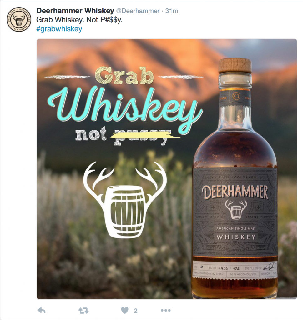 Deerhammer Distilling Company's tweet on the Trump Tapes controversy. Image courtesy Twitter.