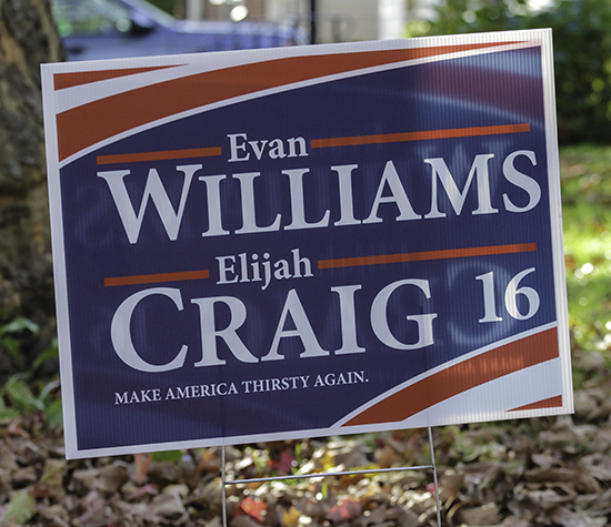 The Evan Williams/Elijah Craig campaign sign.  Photo ©2016, Mark Gillespie/CaskStrength Media.