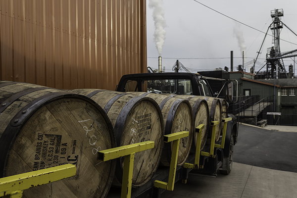 A truck hauling barrels of whiskey at the Jim Beam Distillery in Clermont, Kentucky. File Photo ©2013, Mark Gillespie/CaskStrength Media.