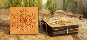 Offerman Wood Shop's Winter Whiskey Coasters. Image courtesy Offerman Wood Shop.