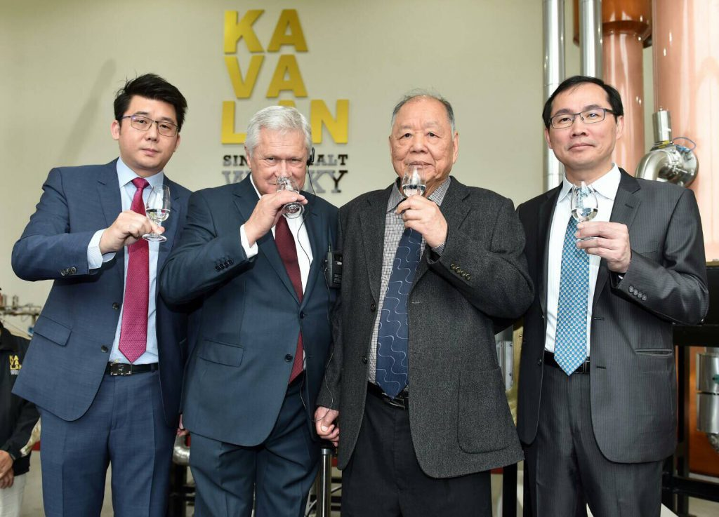 Kavalan master blender Ian Chang, consultant Dr. Jim Swan, King Car Group Chairman Y.T. Lee, and King Car Group CEO T.T. Lee toast with the first new make spirit from Kavalan's second distillery on December 8, 2016. Image courtesy King Car Group.