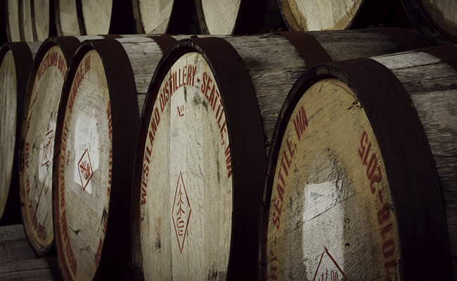 Westland whiskey barrels at the distillery's maturation warehouse in Hoquiam, Washington. Photo ©2015, Mark Gillespie.