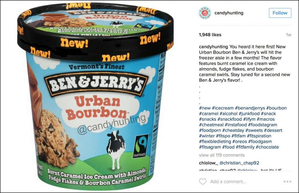 "An Instagram post showing the planned Ben & Jerry's ""Urban Bourbon"" ice cream. Image courtesy @candyhunting/Instagram."