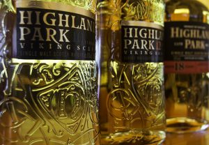 The new bottles for Highland Park 10 and 12, along with the current bottle for Highland Park 18. Photo ©2017, Mark Gillespie/CaskStrength Media.