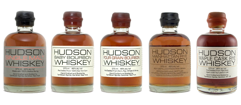 The Hudson Whiskey range of whiskies. Images courtesy Tuthilltown Spirits/William Grant & Sons.