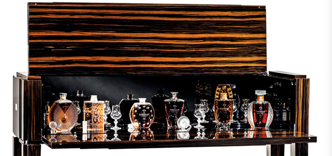 The Macallan in Lalique Legacy Collection and bespoke display case auctioned at Sotheby's in Hong Kong April 2, 2017. Image courtesy Sotheby's.