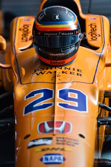 Johnnie Walker sponsorship on Fernando Alonso's 2017 Indianapolis 500 car for McLaren Honda Andretti Autosport. Indianapolis Motor Speedway photo by Chris Owens.
