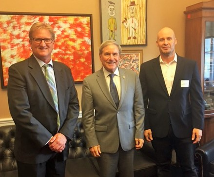 Ted Huber of Starlight Distillery and Amir Peay of Georgetown Trading Co. meet with Congressional Bourbon Caucus (CBC) founder Rep. John Yarmuth (D-KY). Photo courtesy Distilled Spirits Council.