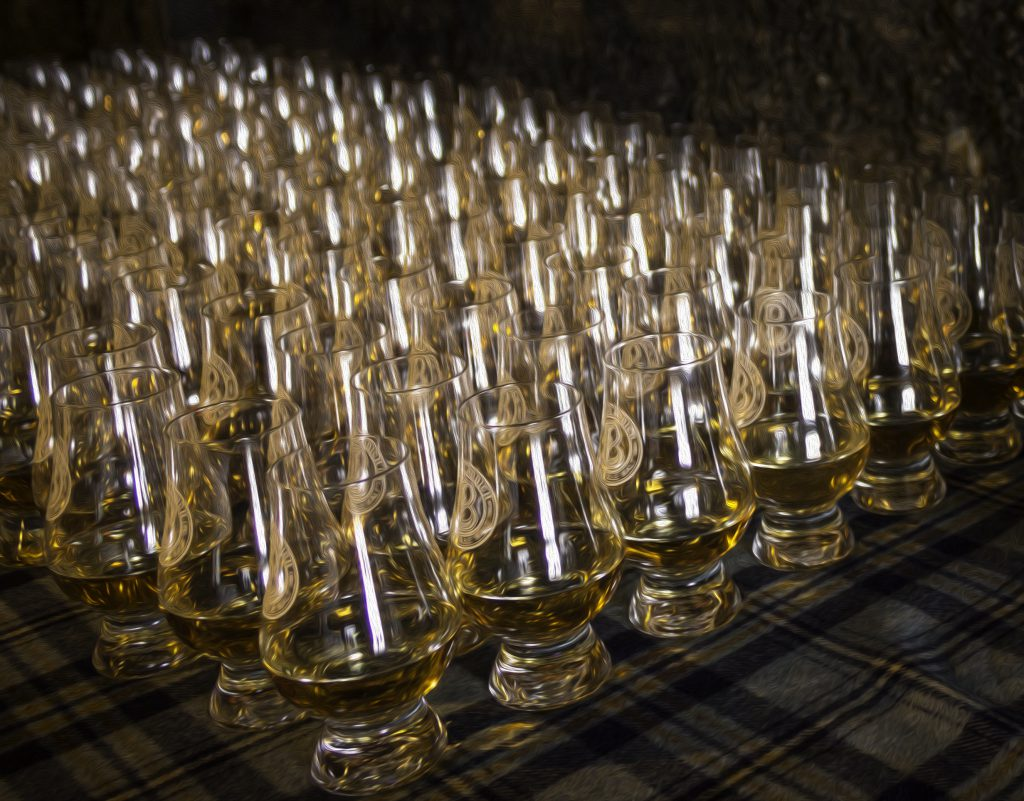Glencairn glasses lined up for a tasting at Bruichladdich Distillery. Image ©2017, Mark Gillespie/CaskStrength Media.