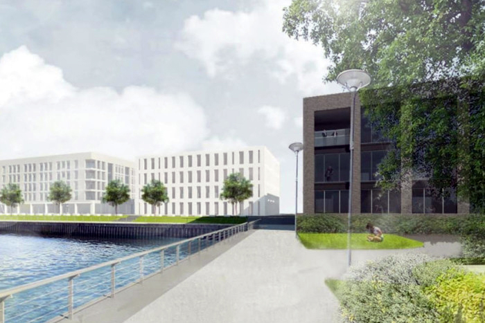 An architect's rendering of the planned Douglas Laing & Co. distillery to be built at Pacific Quay along the River Clyde in Glasgow. Image courtesy Douglas Laing & Co.