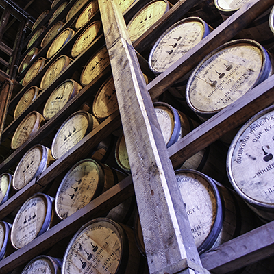 Barrels of Bourbon maturing at Woodford Reserve Distillery in Kentucky. File Photo ©2017. Mark Gillespie/CaskStrength Media.