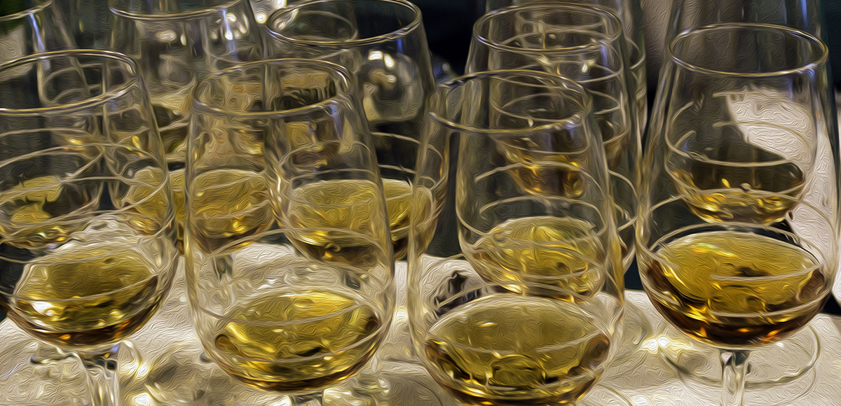 Whisky glasses lined up for a tasting. Image ©2017, Mark Gillespie/CaskStrength Media.