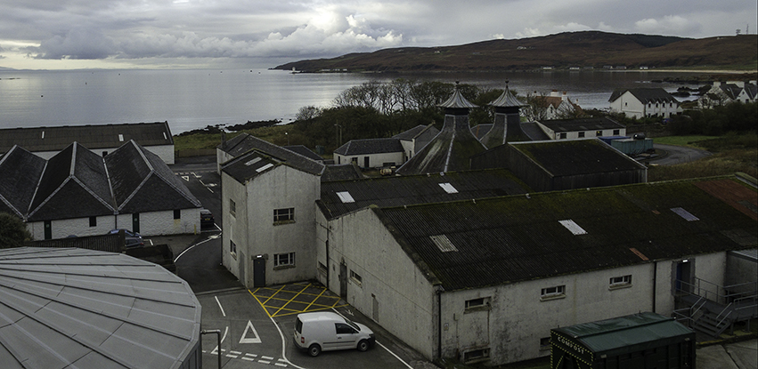The Port Ellen Distillery and its warehouses as seen from the Port Ellen Maltings. Photo ©2017, Mark Gillespie/CaskStrength Media.