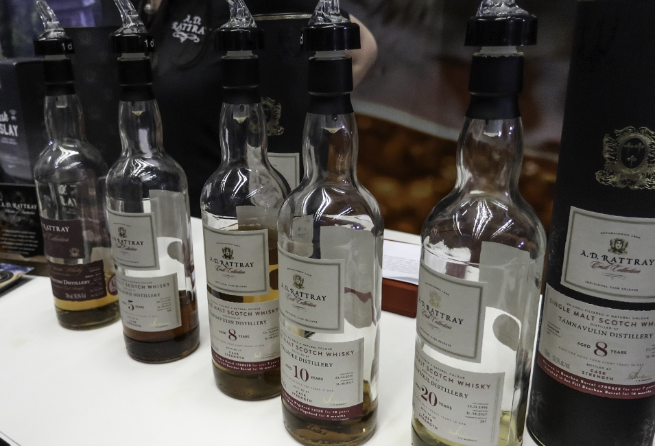 A.D. Rattray whisky bottles ready for pouring at The Whisky Show in London. Photo ©2017, Mark Gillespie/CaskStrength Media.