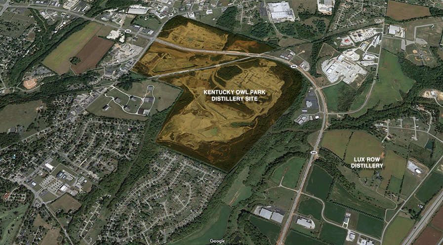 An aerial view of the site for the Kentucky Owl Park distillery project. Image courtesy Google Maps.
