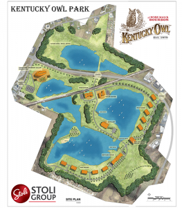 The site plan for Kentucky Owl Park in Bardstown, Kentucky. Image courtesy Stoli Group.