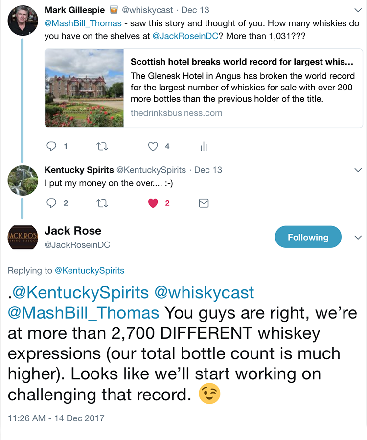 A Twitter exchange with the Jack Rose Dining Saloon in Washington, DC. Image courtesy Twitter.