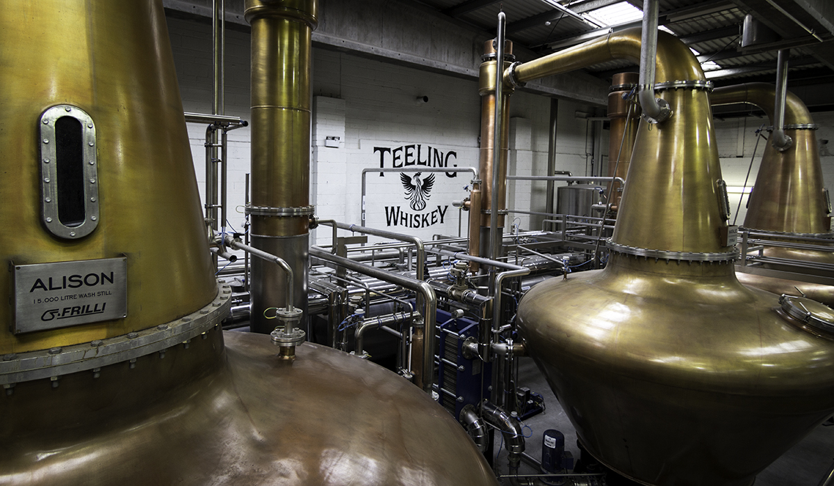 The stills at Teeling Whiskey Company in Dublin, Ireland. Photo ©2017, Mark Gillespie/CaskStrength Media.