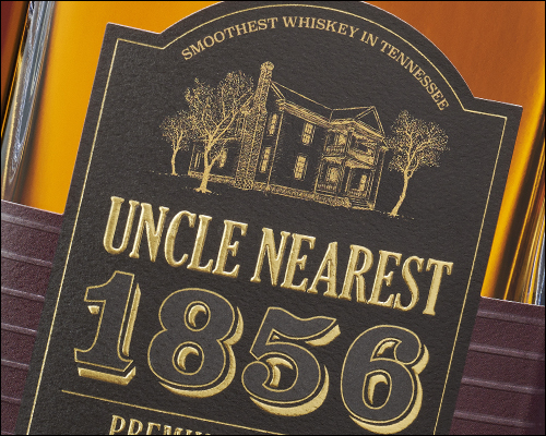 The label for Uncle Nearest 1856 Whiskey. Photo courtesy Uncle Nearest Whiskey.