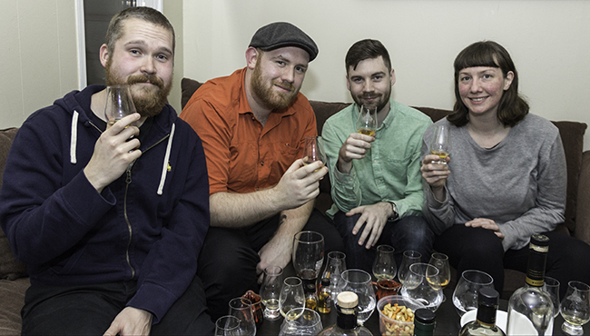The January 2018 Tasting Panel (L-R) Pat Dunlop, Adam Bradshaw, Dan Rampling, and Emily de Korte. Photo ©2018, Mark Gillespie, CaskStrength Media.