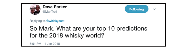 A Twitter question from WhiskyCast listener Dave Parker. Image courtesy Twitter.