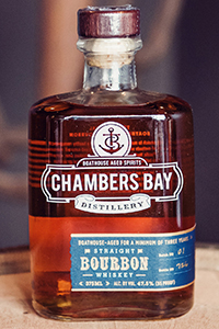 Chambers Bay Straight Bourbon. Image courtesy Chambers Bay Distilery.
