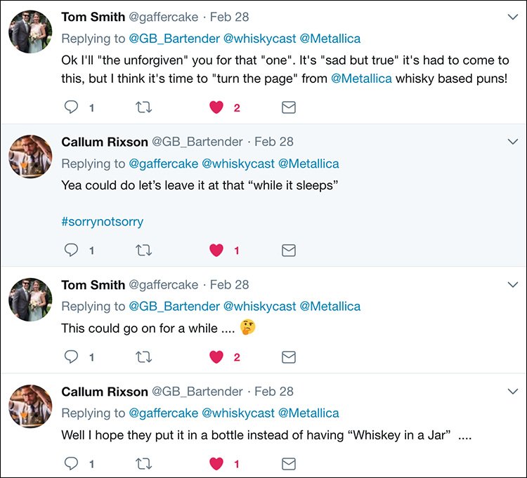 Twitter reaction to Metallica's plans to enter the whiskey business. Image courtesy Twitter.