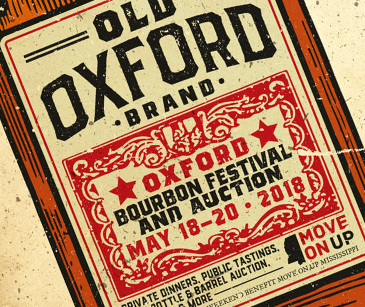 The poster for the Oxford Bourbon Festival and Auction to be held May 18-20, 2018 in Oxford, Mississippi. Image courtesy Oxford Bourbon Festival.