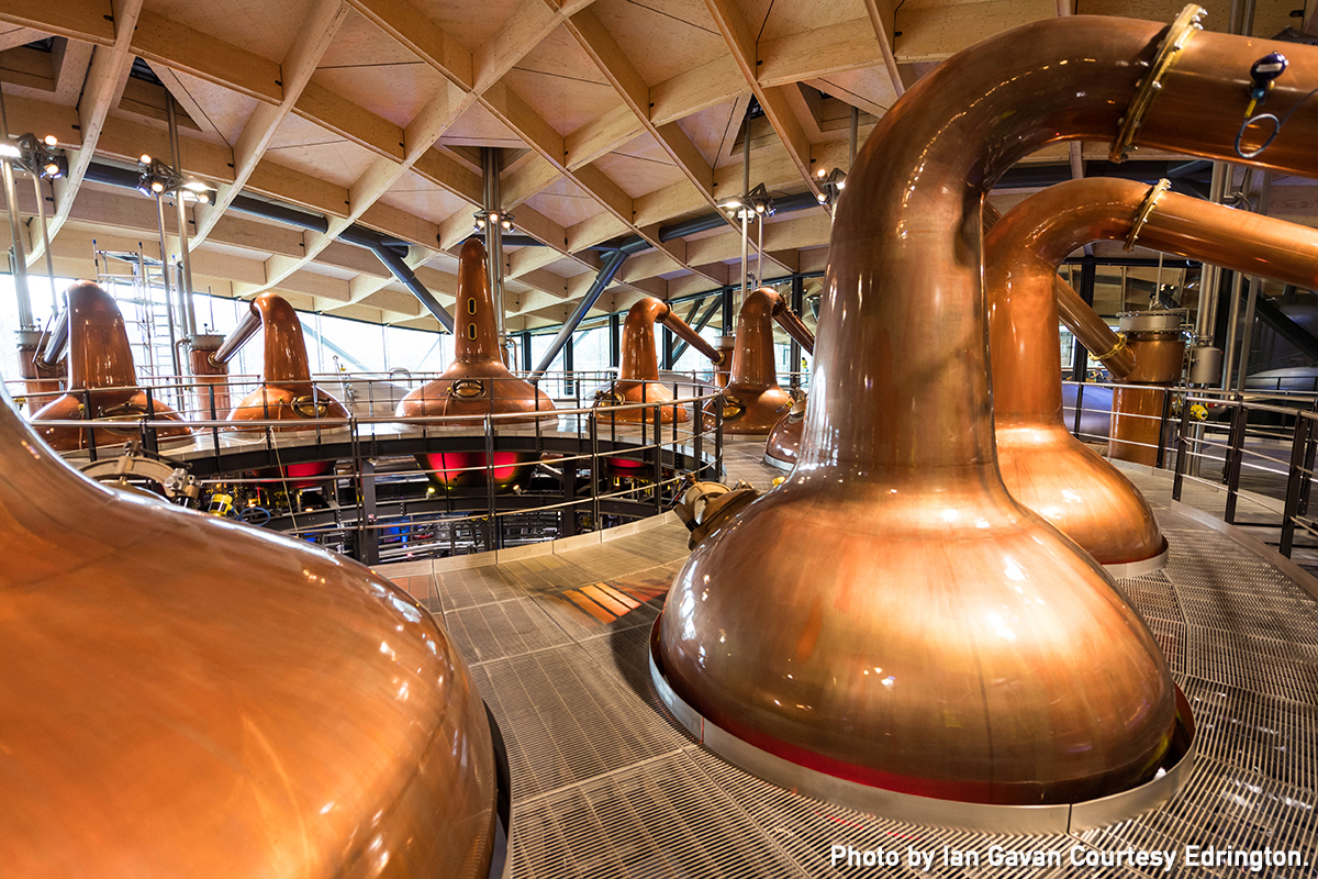 Several of the 36 stills inside The Macallan's new distillery in Scotland. Photo by Ian Gavan courtesy Edrington.