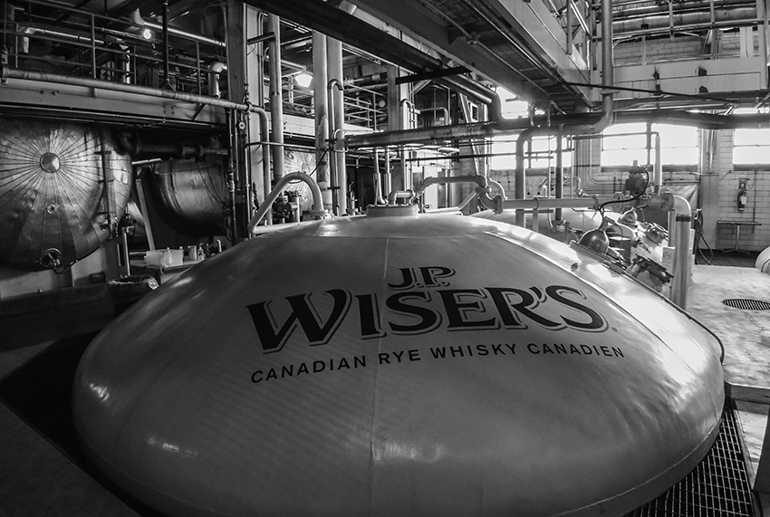 A rye whisky fermenter at the Hiram Walker Distillery in Windsor, Ontario. Photo ©2018, Mark Gillespie/CaskStrength Media.