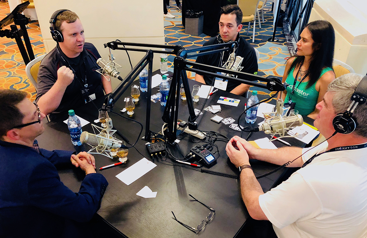 Panelists (L-R) Chris Liro, Sean MacCready, Mike Joachim, and Elsie Escobar at the Podcast Movement 2018 conference in Philadelphia. ©2018, CaskStrength Media.