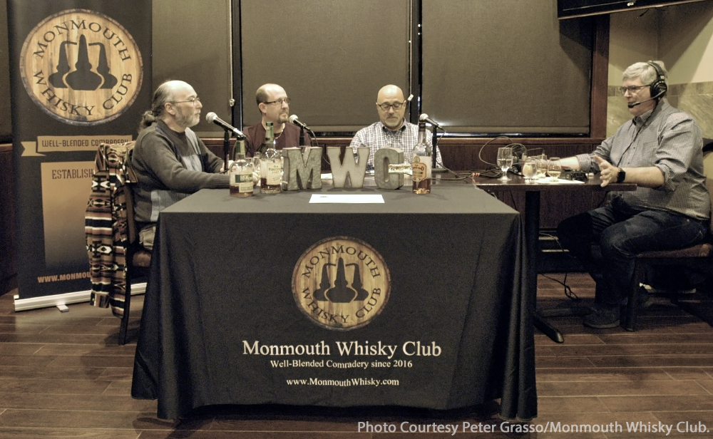 Monmouth Whisky Club members (L-R) Michael Timpanero, Glen Fuchs, and Rich Romano with WhiskyCast's Mark Gillespie. Photo courtesy Peter Grasso/Monmouth Whisky Club.