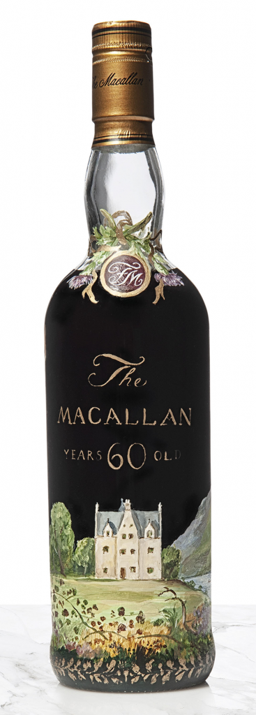 The 1926 Macallan with a label hand-painted by Irish artist Michael Dillon. Image courtesy Christie's.