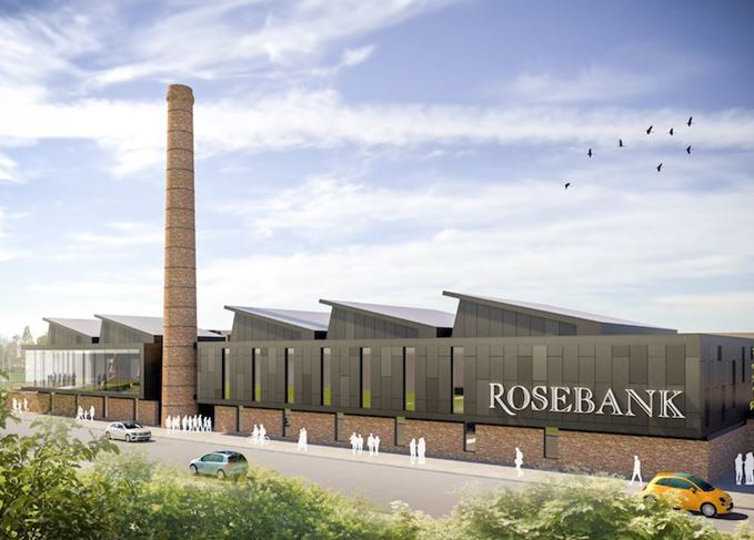 An architect's rendering of the proposed design for the revived Rosebank Distillery in Scotland. Image courtesy Ian Macleod Distillers.