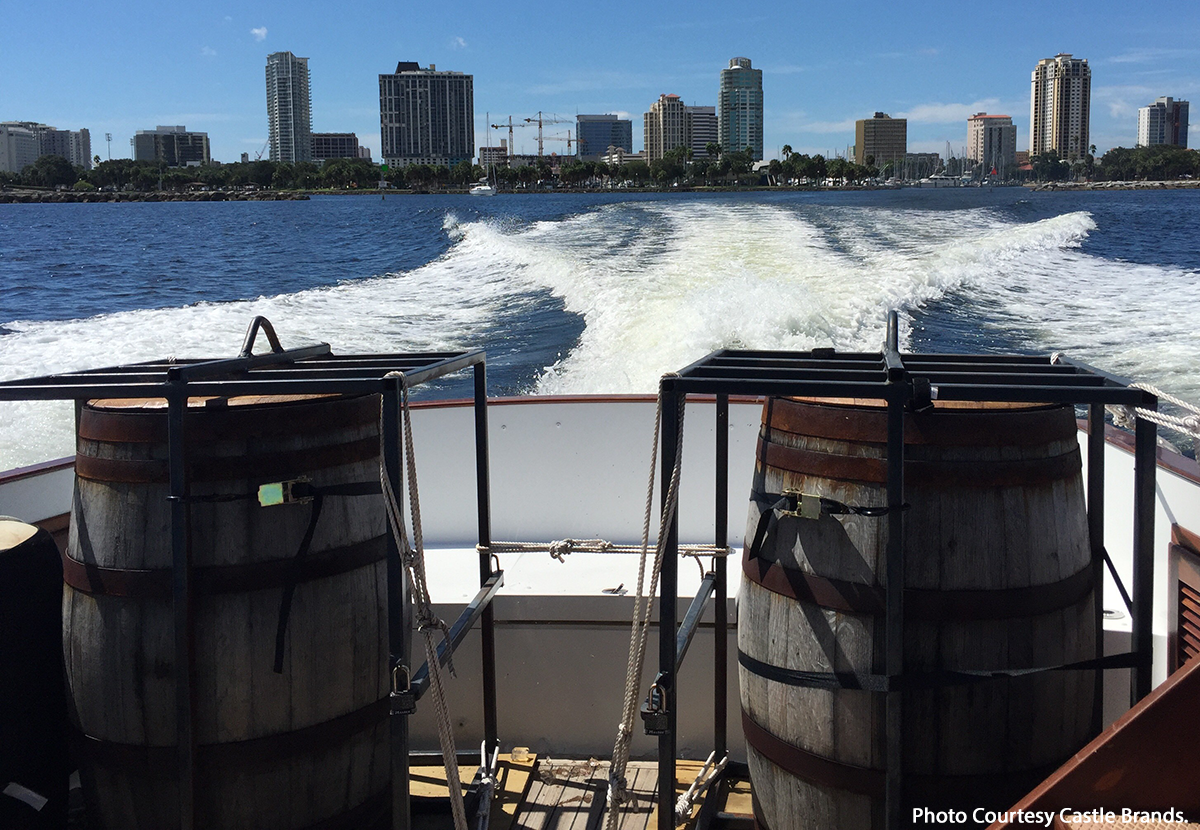 The Jefferson's Journey barrels leave Florida on a boat bound for New York City. Photo courtesy Castle Brands.
