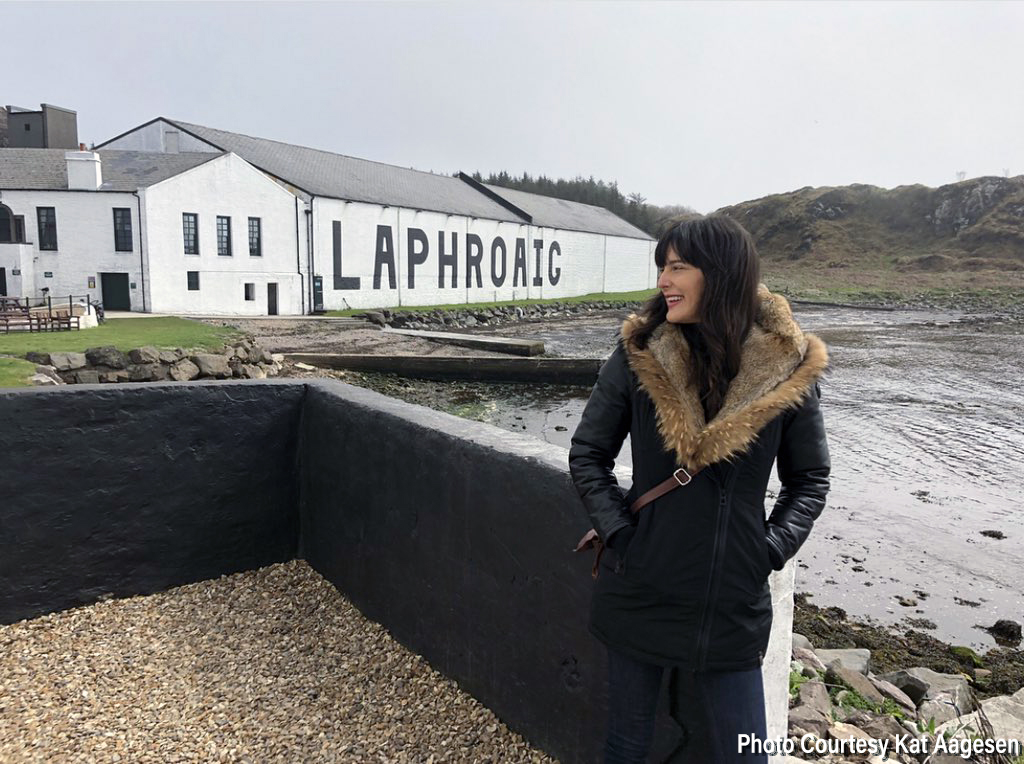 Kat Aagesen at Laphroaig Distillery on Islay. Photo courtesy Kat Aagesen.