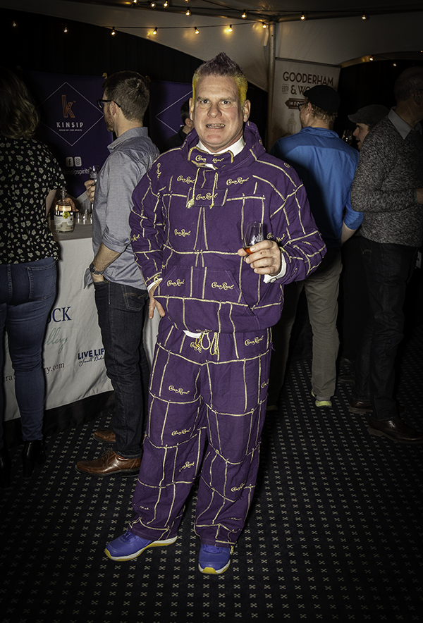 Wayne Pike and his Crown Royal outfit at the Wonderful World of Whisky Show in Cornwall, Ontario March 23, 2019. Photo ©2019, Mark Gillespie/CaskStrength Media.